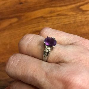 Jewelry - 14K White Gold Oval Amethyst Ring with Diamonds 6